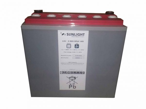 Sunlight 12V 3 RES OPzV 185 Ah Solar Battery
